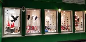 Butikkvindu, aktiv ballangen,, utstilling, julevarer
